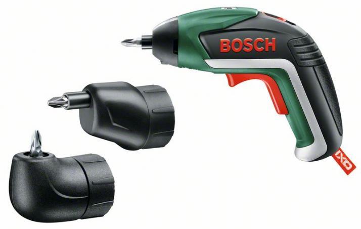 BOSCH - Atornillador a batería de litio Juego IXO Full con adaptadores angular y excéntrico
