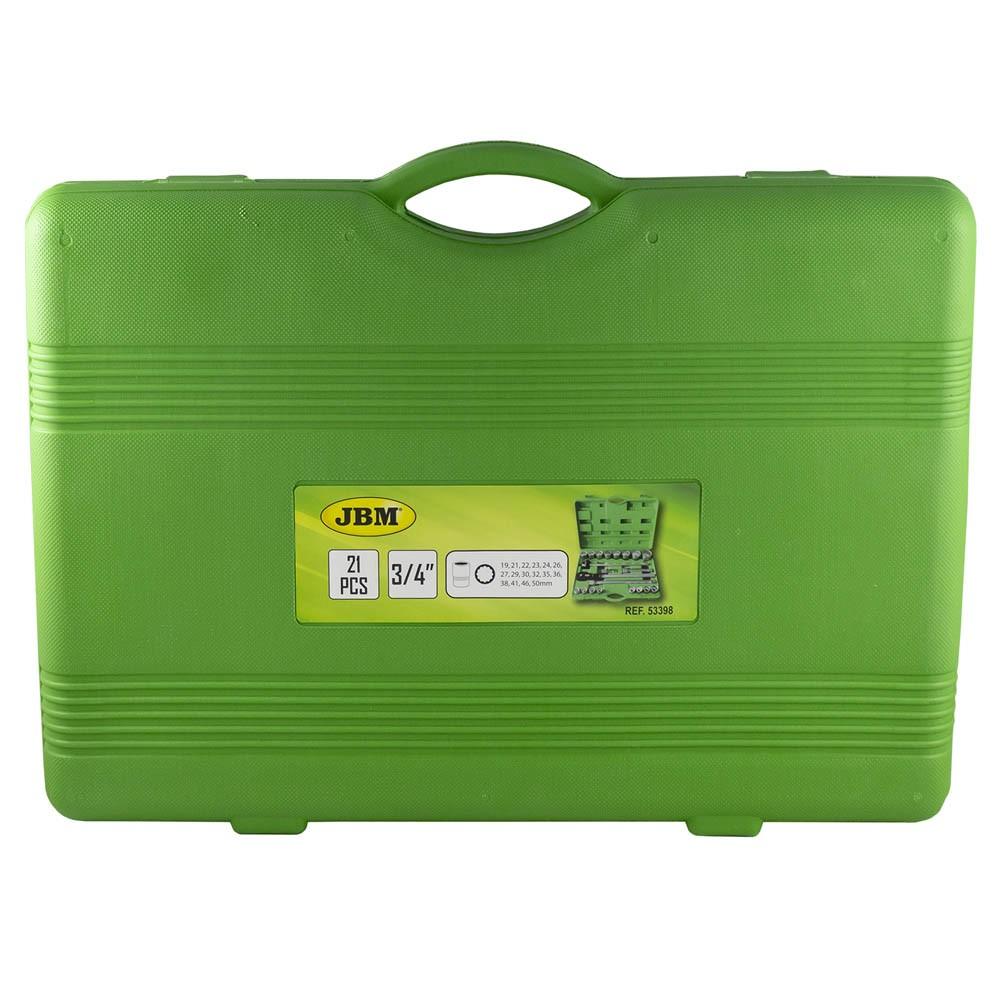 """JBM 53398 ESTUCHE DE HERRAMIENTAS CON 21 PIEZAS AUTOCLE 3//4/"""" 12 CANTOS"""